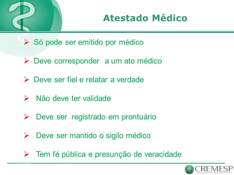 Atestado Médico Só pode ser emitido por médico