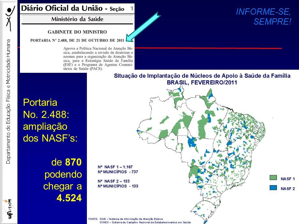Portaria No. 2.488: ampliação dos NASF's: