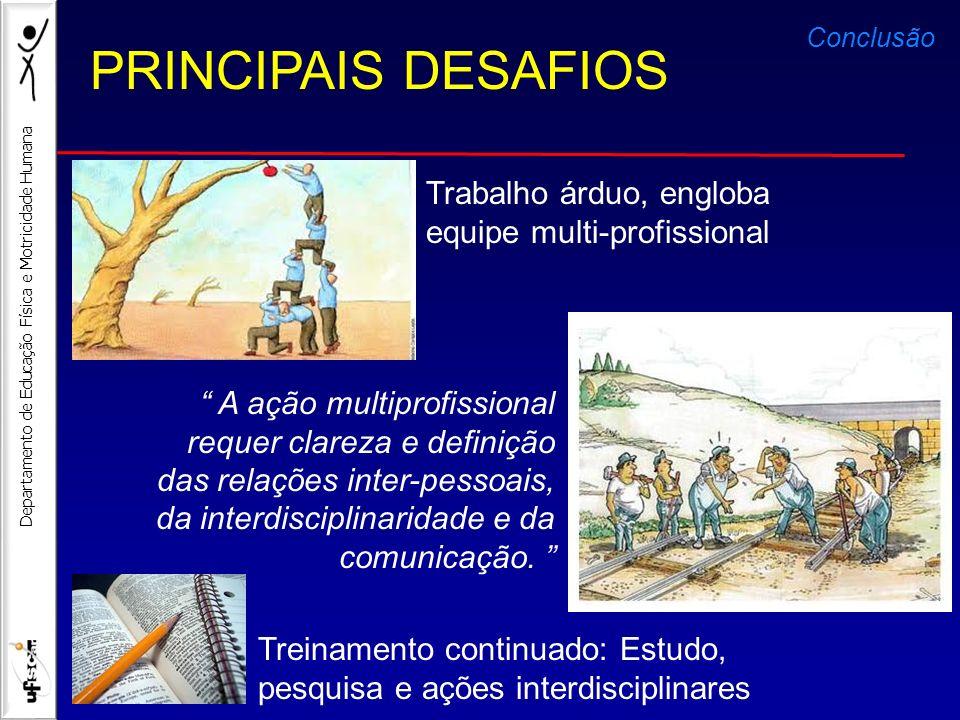 PRINCIPAIS DESAFIOS Trabalho árduo, engloba equipe multi-profissional
