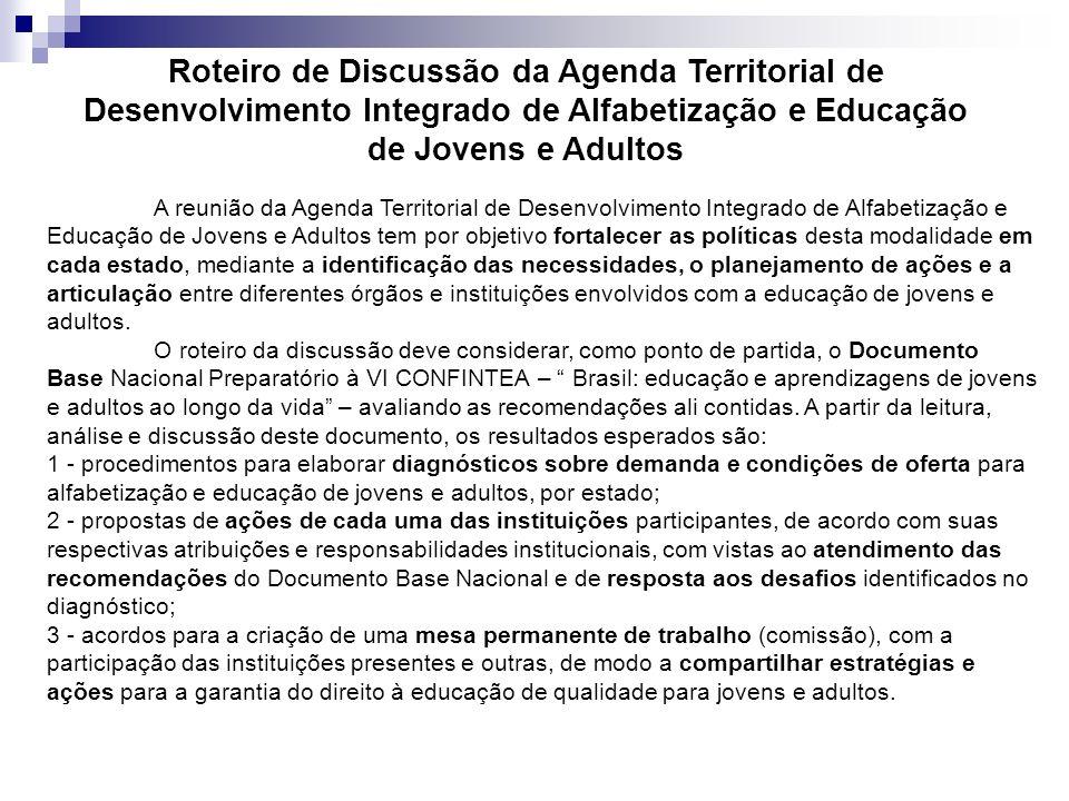 Roteiro de Discussão da Agenda Territorial de Desenvolvimento Integrado de Alfabetização e Educação de Jovens e Adultos
