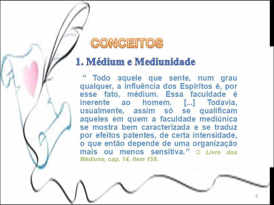 CONCEITOS 1. Médium e Mediunidade
