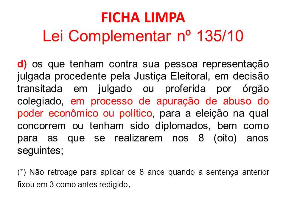 FICHA LIMPA Lei Complementar nº 135/10