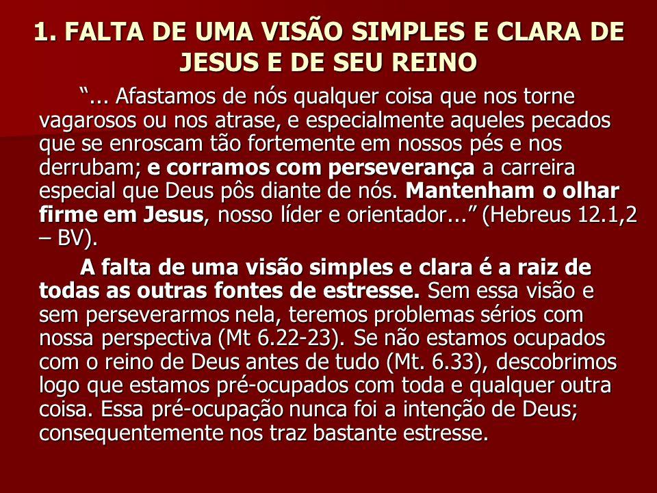 1. FALTA DE UMA VISÃO SIMPLES E CLARA DE JESUS E DE SEU REINO