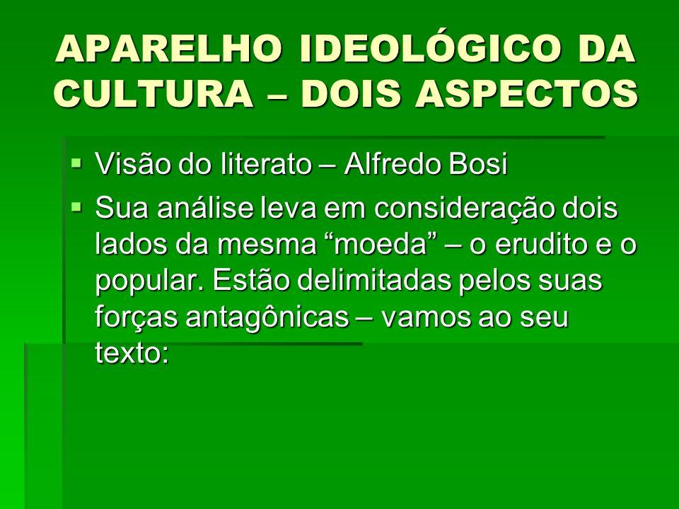 APARELHO IDEOLÓGICO DA CULTURA – DOIS ASPECTOS