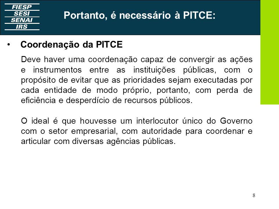 Portanto, é necessário à PITCE:
