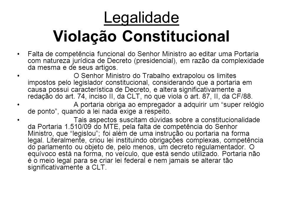 Legalidade Violação Constitucional