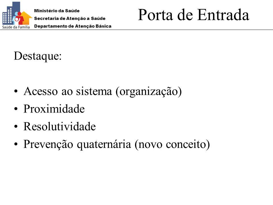 Porta de Entrada Destaque: Acesso ao sistema (organização) Proximidade