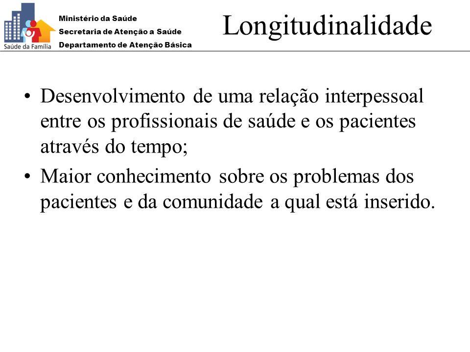 Longitudinalidade Desenvolvimento de uma relação interpessoal entre os profissionais de saúde e os pacientes através do tempo;