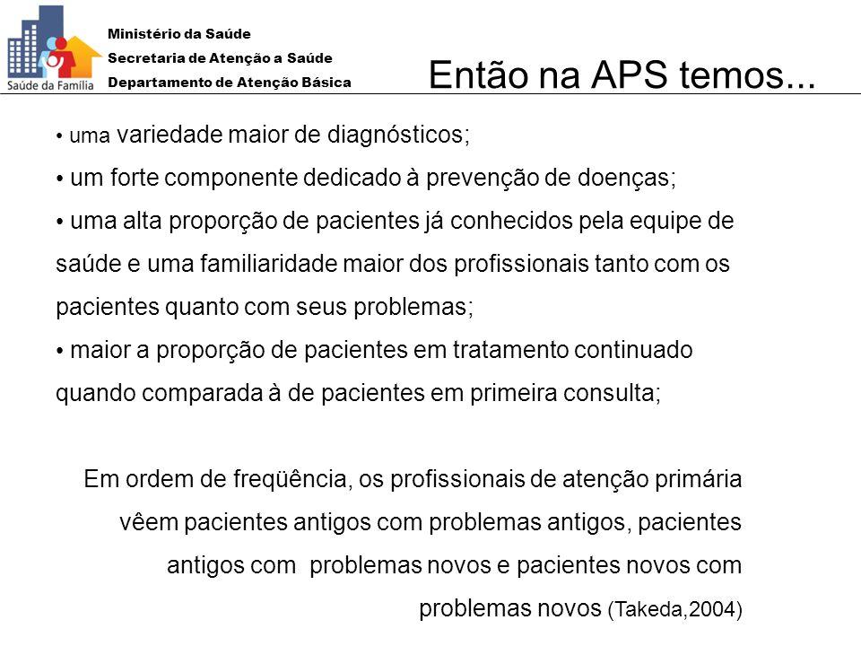 Então na APS temos... uma variedade maior de diagnósticos; um forte componente dedicado à prevenção de doenças;
