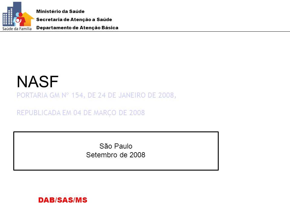 NASF PORTARIA GM Nº 154, DE 24 DE JANEIRO DE 2008,