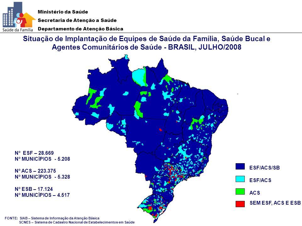 Situação de Implantação de Equipes de Saúde da Família, Saúde Bucal e Agentes Comunitários de Saúde - BRASIL, JULHO/2008