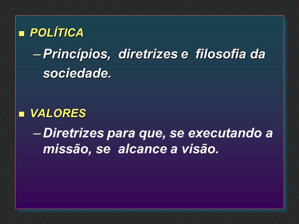 Princípios, diretrizes e filosofia da sociedade.