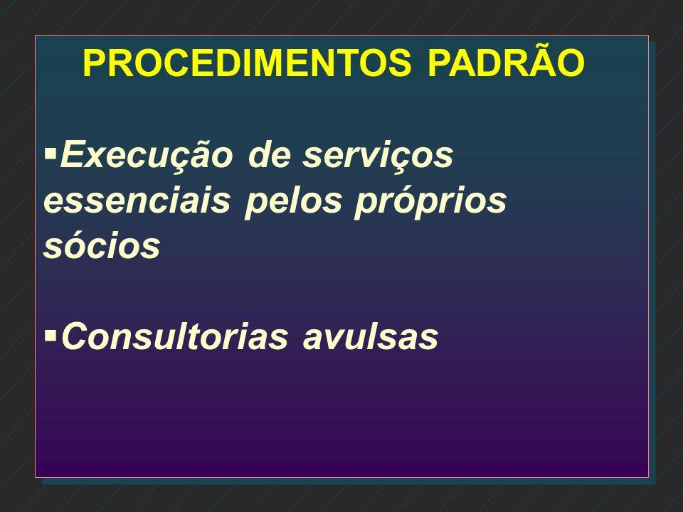 PROCEDIMENTOS PADRÃO Execução de serviços essenciais pelos próprios sócios Consultorias avulsas