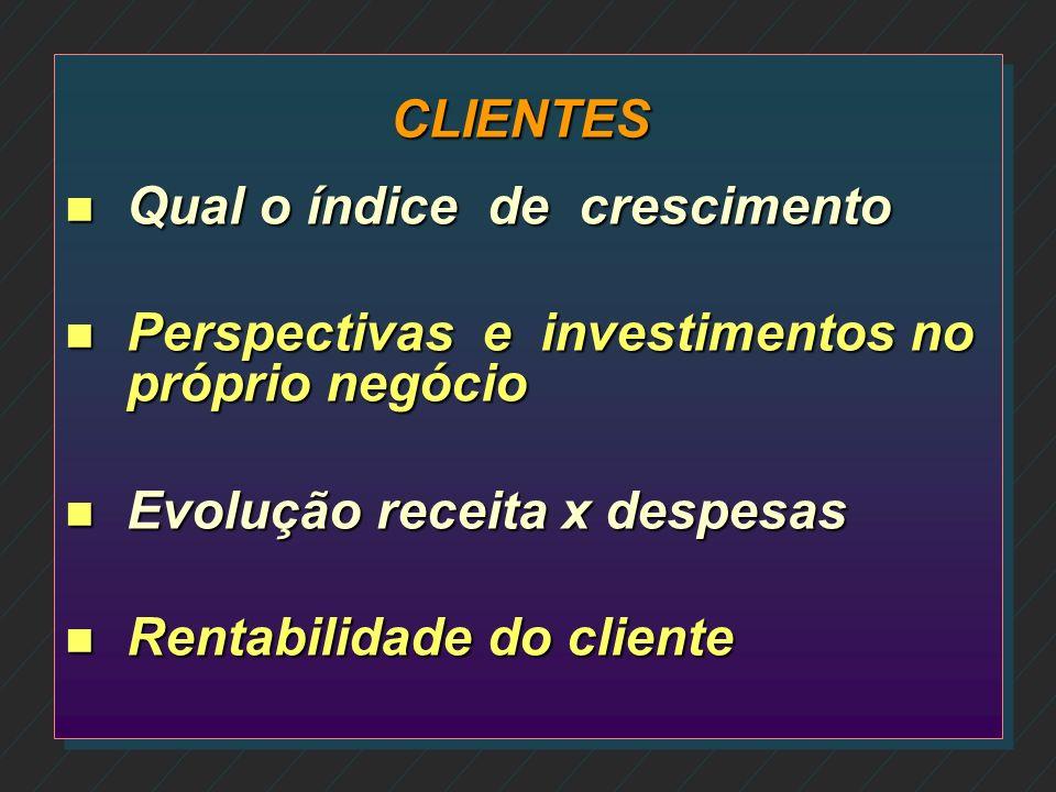 CLIENTES Qual o índice de crescimento. Perspectivas e investimentos no próprio negócio. Evolução receita x despesas.