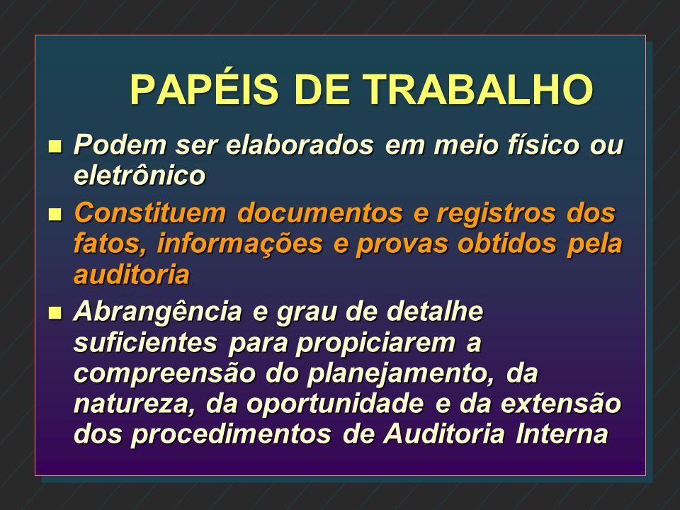 PAPÉIS DE TRABALHO Podem ser elaborados em meio físico ou eletrônico