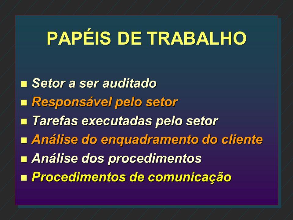 PAPÉIS DE TRABALHO Setor a ser auditado Responsável pelo setor
