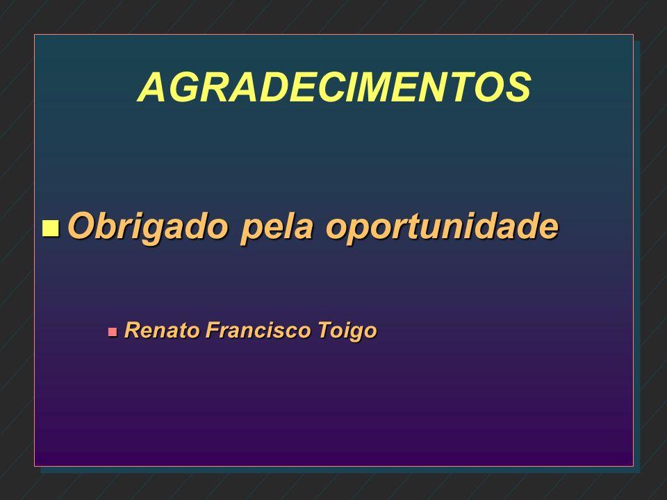 AGRADECIMENTOS Obrigado pela oportunidade Renato Francisco Toigo