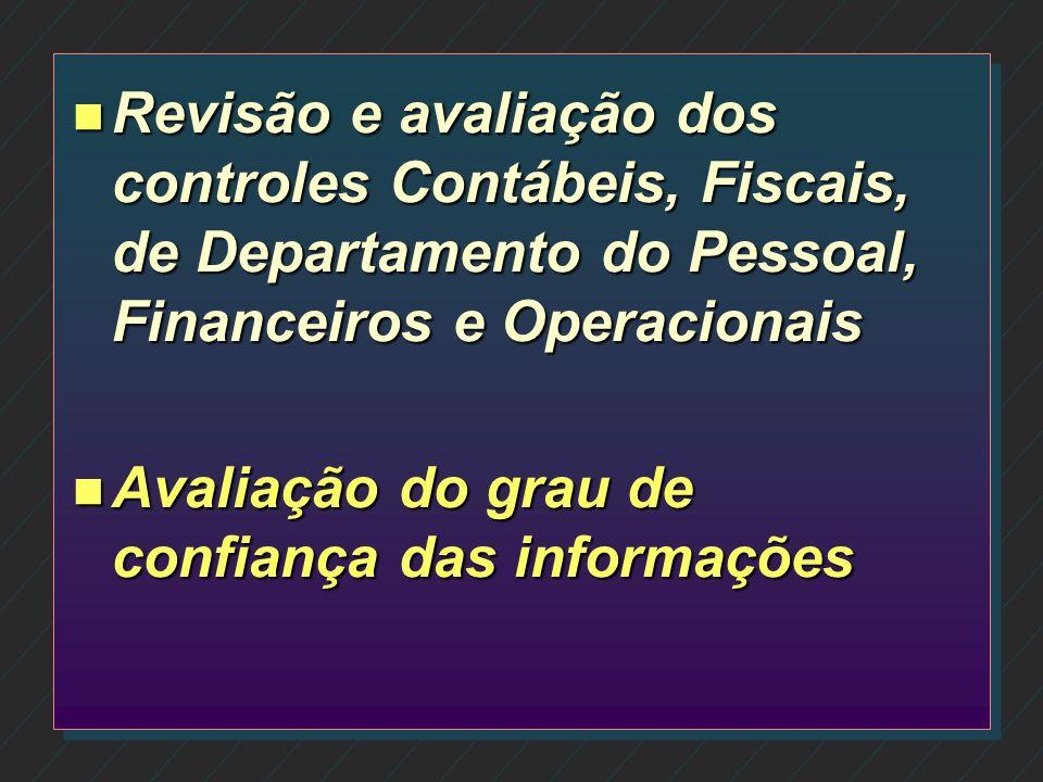 Revisão e avaliação dos controles Contábeis, Fiscais, de Departamento do Pessoal, Financeiros e Operacionais
