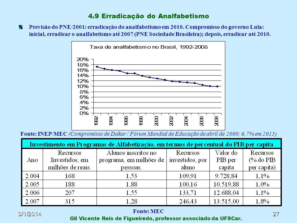 4.9 Erradicação do Analfabetismo
