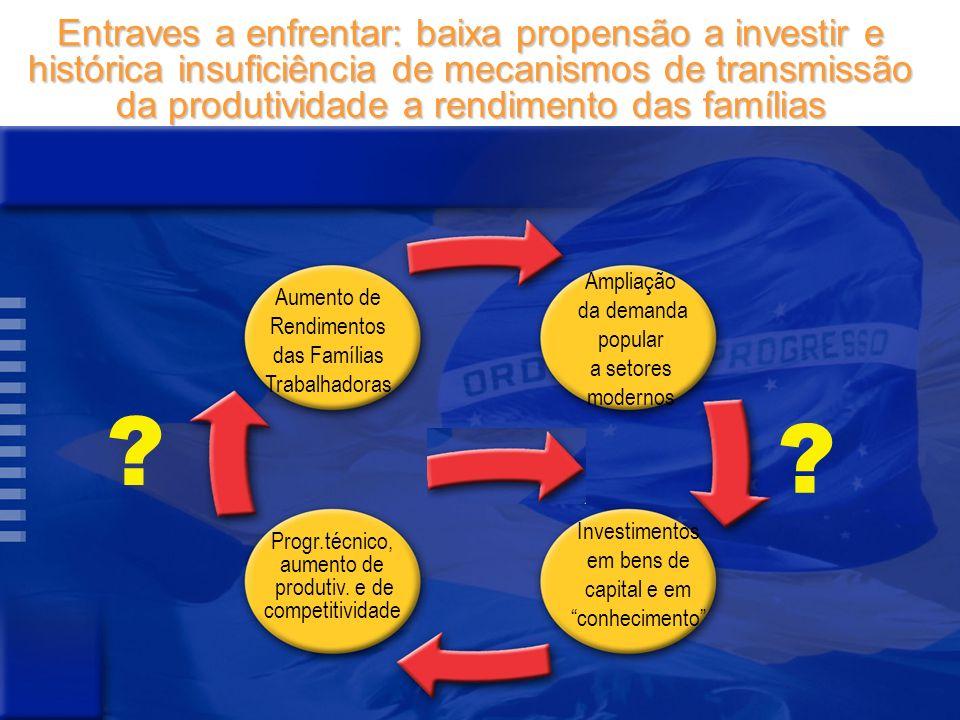 Entraves a enfrentar: baixa propensão a investir e histórica insuficiência de mecanismos de transmissão da produtividade a rendimento das famílias