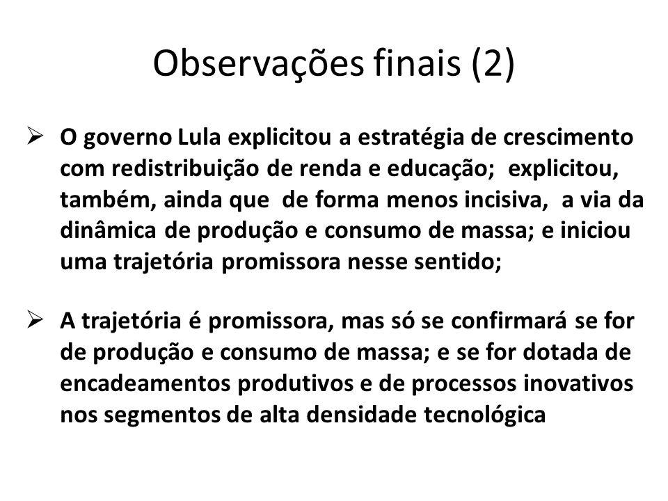 Observações finais (2)