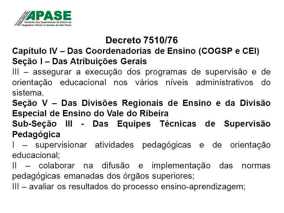 Decreto 7510/76Capítulo IV – Das Coordenadorias de Ensino (COGSP e CEI) Seção I – Das Atribuições Gerais.