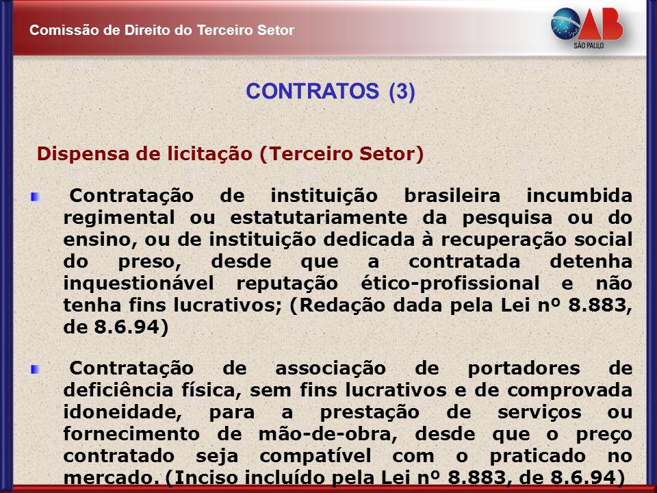 CONTRATOS (3) Dispensa de licitação (Terceiro Setor)