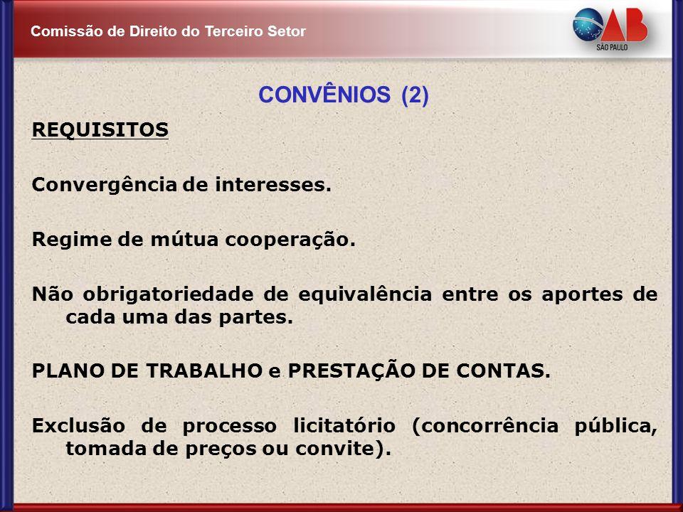 CONVÊNIOS (2) REQUISITOS Convergência de interesses.