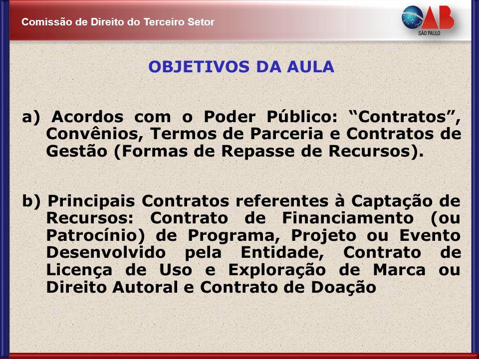 OBJETIVOS DA AULA a) Acordos com o Poder Público: Contratos , Convênios, Termos de Parceria e Contratos de Gestão (Formas de Repasse de Recursos).