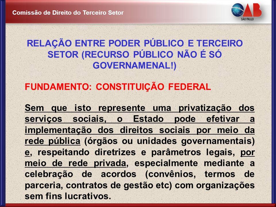 RELAÇÃO ENTRE PODER PÚBLICO E TERCEIRO SETOR (RECURSO PÚBLICO NÃO É SÓ GOVERNAMENAL!)