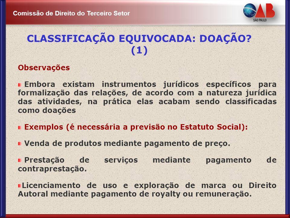 CLASSIFICAÇÃO EQUIVOCADA: DOAÇÃO (1)