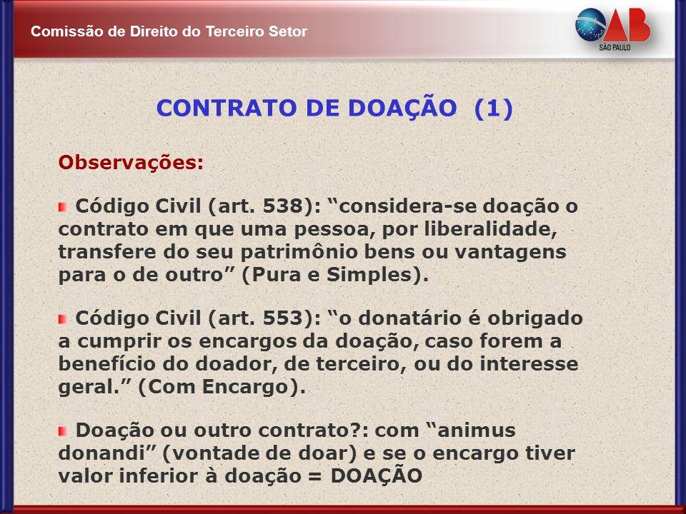 CONTRATO DE DOAÇÃO (1) Observações: