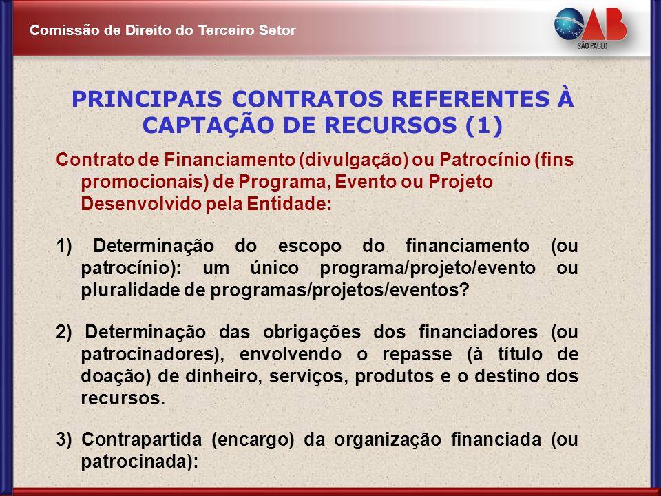 PRINCIPAIS CONTRATOS REFERENTES À CAPTAÇÃO DE RECURSOS (1)