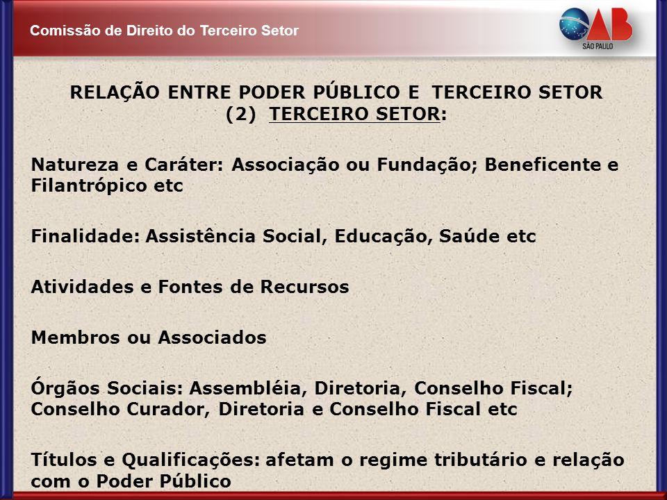 RELAÇÃO ENTRE PODER PÚBLICO E TERCEIRO SETOR (2) TERCEIRO SETOR: