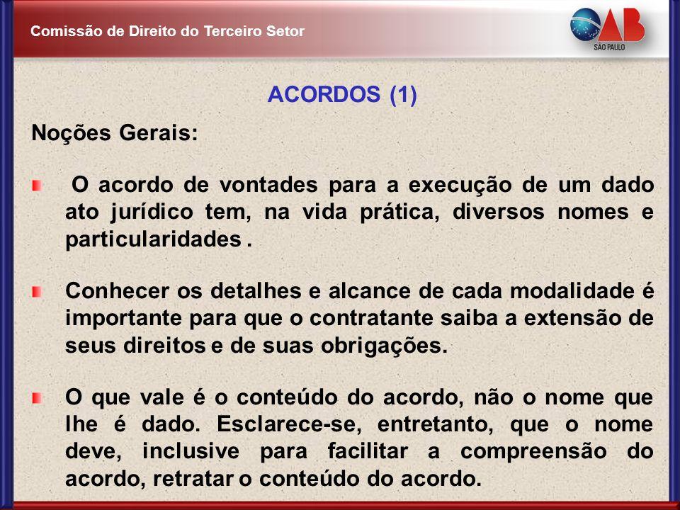 ACORDOS (1) Noções Gerais: O acordo de vontades para a execução de um dado ato jurídico tem, na vida prática, diversos nomes e particularidades .