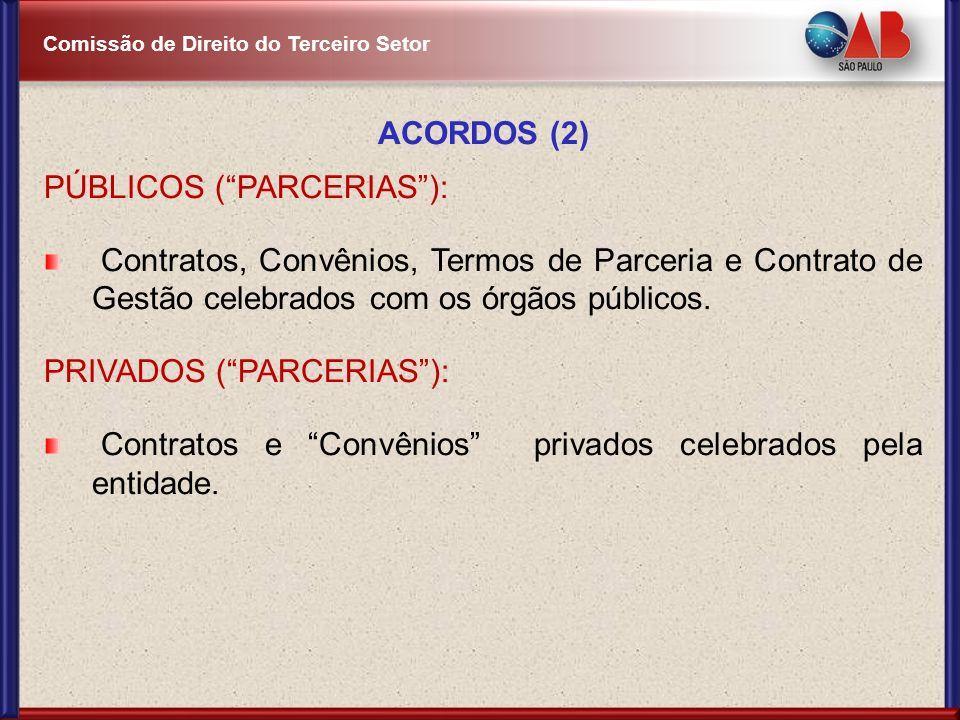 ACORDOS (2) PÚBLICOS ( PARCERIAS ): Contratos, Convênios, Termos de Parceria e Contrato de Gestão celebrados com os órgãos públicos.