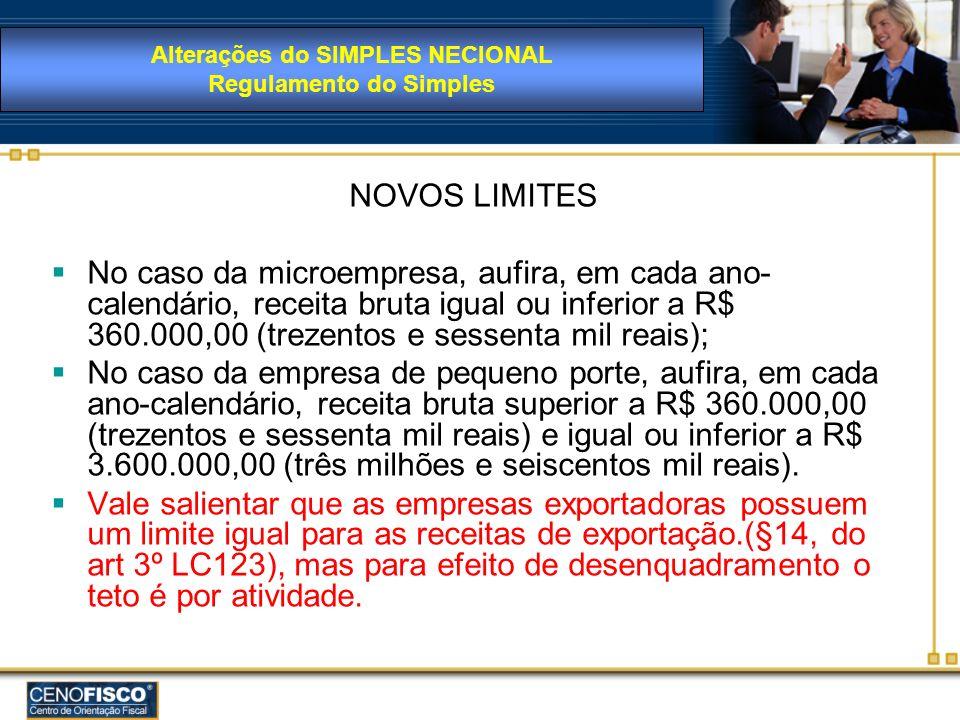 Alterações do SIMPLES NECIONAL Regulamento do Simples
