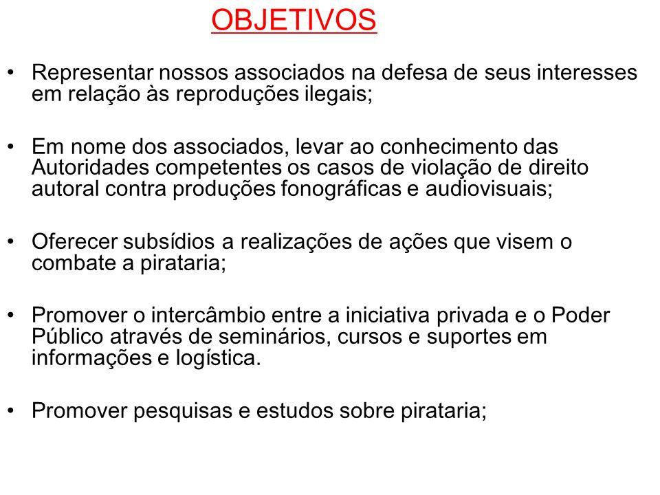 OBJETIVOS Representar nossos associados na defesa de seus interesses em relação às reproduções ilegais;