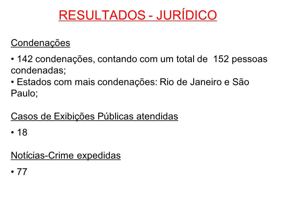 RESULTADOS - JURÍDICO Condenações