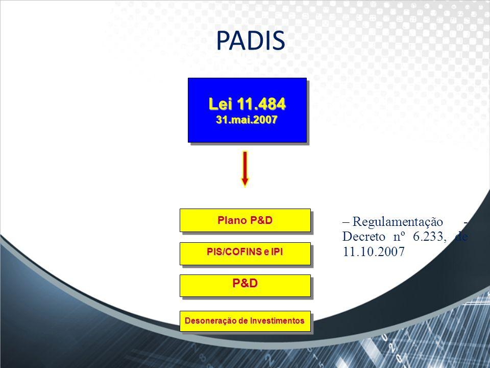 PADISPADIS. Lei 11.484 31.mai.2007. Plano P&D. Regulamentação - Decreto nº 6.233, de 11.10.2007. PIS/COFINS e IPI.