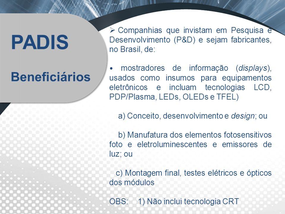 Companhias que invistam em Pesquisa e Desenvolvimento (P&D) e sejam fabricantes, no Brasil, de: