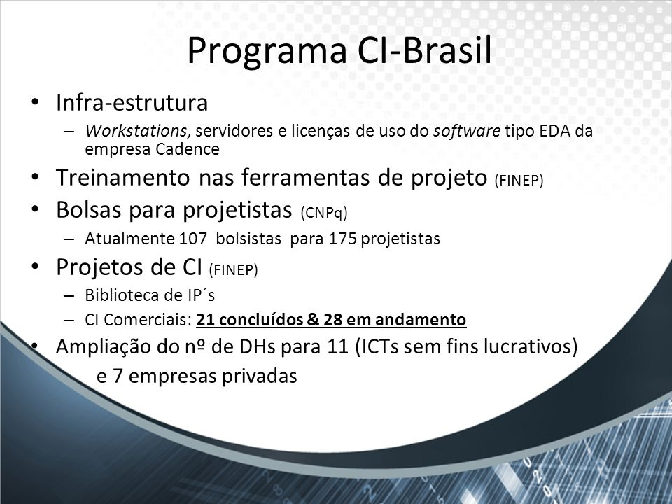 Programa CI-Brasil Infra-estrutura