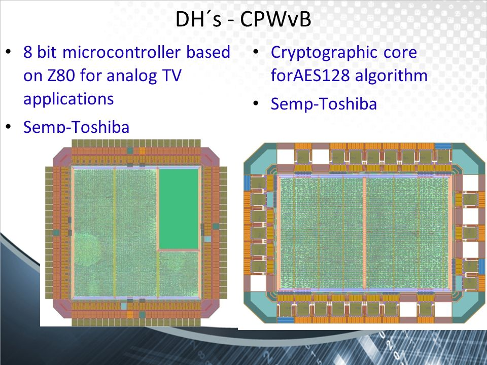 DH´s - CPWvB8 bit microcontroller based on Z80 for analog TV applications. Semp-Toshiba. Cryptographic core forAES128 algorithm.