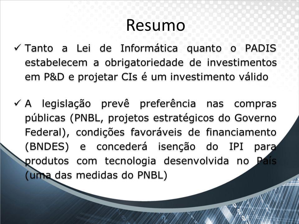 Resumo Tanto a Lei de Informática quanto o PADIS estabelecem a obrigatoriedade de investimentos em P&D e projetar CIs é um investimento válido.