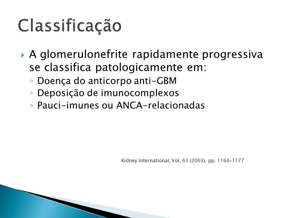 Classificação A glomerulonefrite rapidamente progressiva se classifica patologicamente em: Doença do anticorpo anti-GBM.