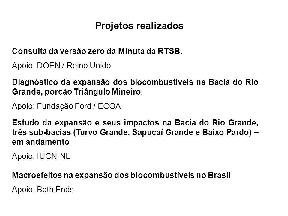 Projetos realizados Consulta da versão zero da Minuta da RTSB.