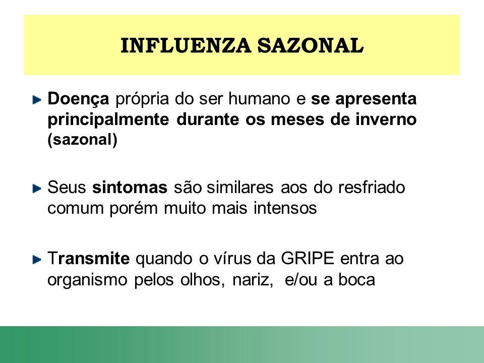 INFLUENZA SAZONAL Doença própria do ser humano e se apresenta principalmente durante os meses de inverno (sazonal)