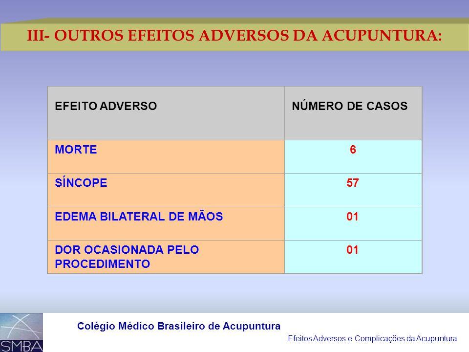III- OUTROS EFEITOS ADVERSOS DA ACUPUNTURA: