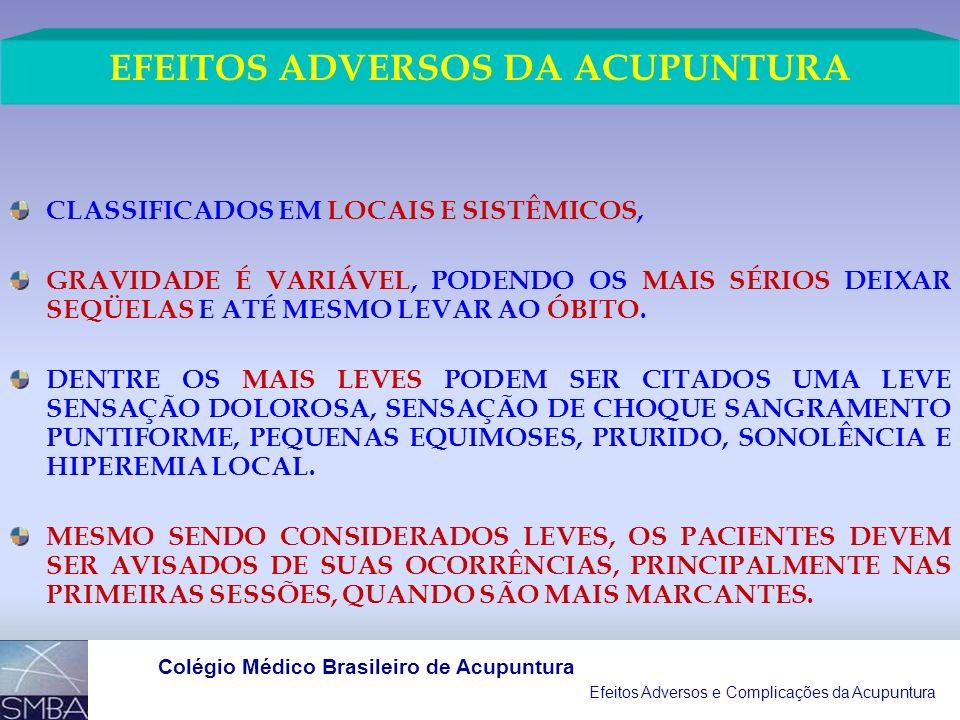 EFEITOS ADVERSOS DA ACUPUNTURA