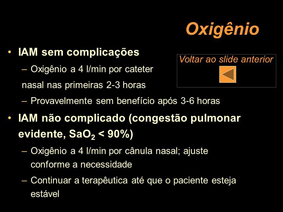 Oxigênio IAM sem complicações